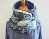 Wool Scarf Boro Men's Neck warmer Dark blue and gray warm winter neck wrap cowl Kantha Upcycled Sashiko 100% felted wool scarf SaidoniaEco