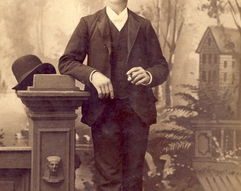 Handsome Young Man in FANCY Dress with BOWLER HAT Cabinet Card Photo Circa 1890s Center Point Iowa