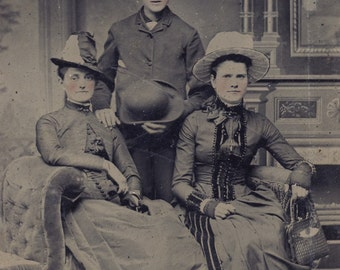 FANCY Hats and Wonderful VICTORIAN DRESSES Tintype Photo Circa 1880s