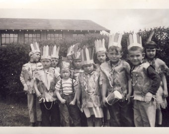 Group of Children In INDIAN COSTUMES For HALLOWEEN or Birthday Party Photo circa 1940s