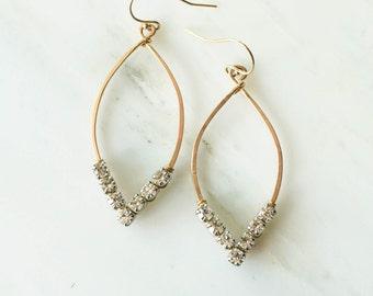 Rhinestone Marquise Hoop Earrings, Jewelry, Womens, Gold or Silver