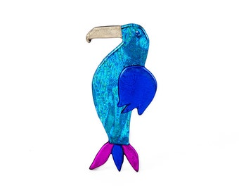 Vintage Bird Brooch, Retro, Plastic, Colorful, Oil Spill, Estate Jewelry