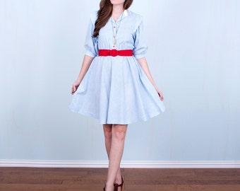 Nautical Striped Dress 80's Light Blue White Red Cotton Boating Dress Hipster / Small to Medium