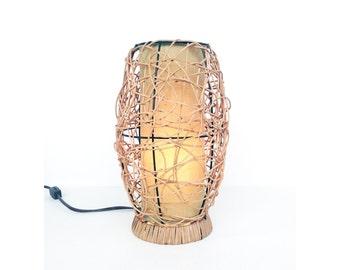 Mid Century Rattan Beehive Table Lamp