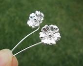 Poppy flower earrings sterling silver earrings jewelry dangle earrings cute small stud earrings long stem earrings unique Threader E-194