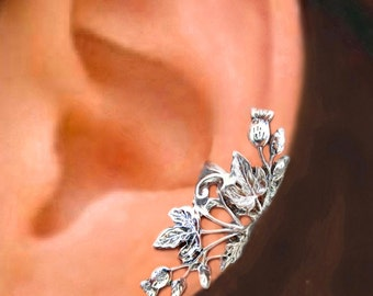 Scottish Thistle ear cuffs Sterling Silver earrings Thistle jewelry Thistle earrings Sterling silver ear cuff flower ear cuff ear clip C-108