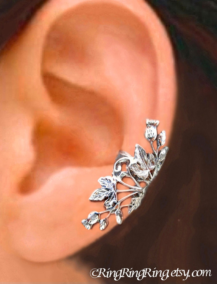 ear jewelry scottish thistle ear cuff sterling silver earrings thistle 2486