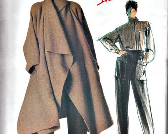 1980's Issey Miyake Japanese Style Coat, Shirt and Pants Pattern  VOGUE Individualist 1476  1980's Retro Sewing Pattern Bust 32-1/2 UNCUT FF
