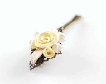 Rose hair pin, Yellow flower hair pin, Flower bobby pin, wedding hair accessories, flowergirl accessories