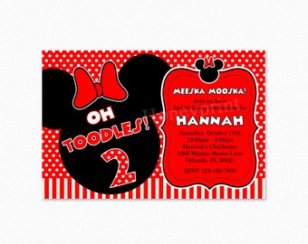 Minnie Mouse Birthday Party Invitation,  Red, Black, Polka Dots, Stripes, Personalized, Printable or Printed