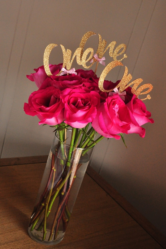 Pink and gold st birthday centerpiece handcrafted in
