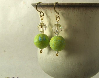 Lime green and crystal bead earrings, handmade polymer clay beads on hypo-allergenic niobium findings