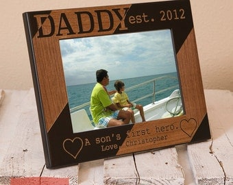 Dad and Son Personalized Picture Frame - Personalized Dad Picture Frame - Daddy A Sons First Hero - Gifts for Dad-Birthday Gift