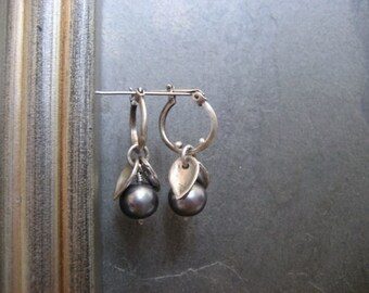 Pearl earrings, freshwater pearls, pearls and leaves, grey blue pearls, small hoops, pearl dangle, pearl hoops, silver hoops