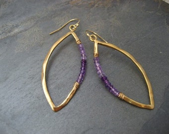 Ombre amethyst marquis earrings - sterling silver with 14k gold plating