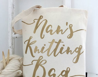 Nan's Knitting Bag | Knitting Project Bag | Knitting Nan | Grandma Gift | Knitting Bag