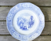 Romantic Blue Transferware Plate Antique Wedgewood Ironstone Plate Staffordshire Pottery