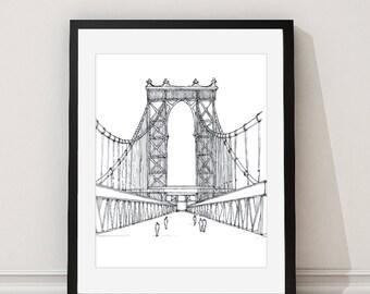 Manhattan Bridge Print - New York Architectural Print - Manhattan Bridge Print Drawing - New York Architectural Drawing - Aldari Art