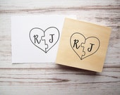Puzzle Piece Wedding  Rubber Stamp, Heart Shape with Initials