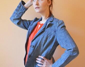 Blue Denim Jacket - Cute hippie Blue denim jacket Size M