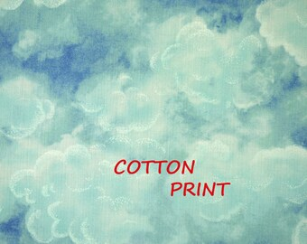 Blue Sky, White Clouds Print, Craft or Quilting Cotton Fabric, Hi Fashion, half yard, B35