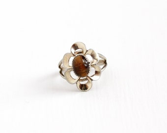 Vintage Sterling Silver Tiger's Eye Flower Scarab Ring - Retro Egyptian Revival Brown Carved Gem Beetle Adjustable Beau Costume Jewelry