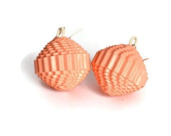 Pastel Ball Earrings PALLA - made of corrugated cardboard icecream color