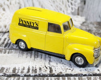 Vintage Bank, Penney's Panel Truck Bank, Yellow Truck Bank, Vintage