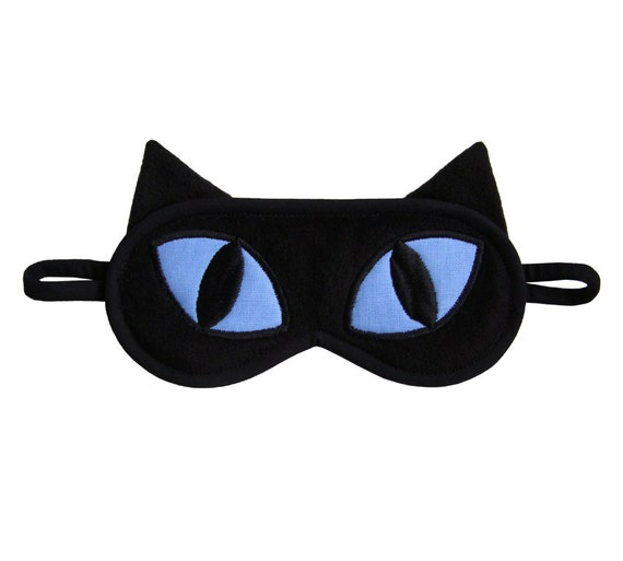 Black Cat Sleep Mask, Crazy cat lady, Animal totem sleeping eye mask, Blue applique eyemask, Gift for pet lover, Kitty sleepmask for her him