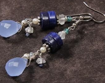 Blue Water earrings: lapis, aquamarine, quartz, pearl, crystal, silver