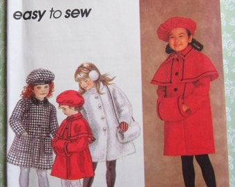 Easy to Sew Girls Lined Knee Length Coat, Muff and Hat Sizes 5 6 6X Vintage 1990's Simplicity Pattern 8715 UNCUT