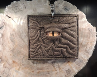Convention Badge Holder:Olive Leather and Yellow Eye