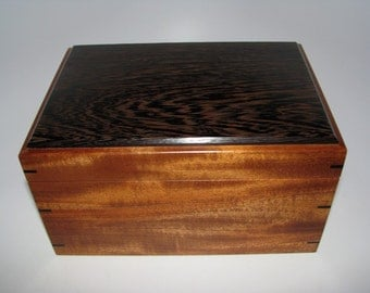 "Keepsake Box. Distinctive Wenge and African Mahogany Keepsake Box. 9"" x 6.25"" x 4.75"". Handcrafted Wooden Memory Box."