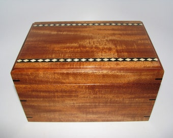"Inlaid Keepsake Box. Upholstered Handcrafted African Mahogany Keepsake Box. 9"" x 6"" x 5"""