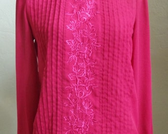 Vintage Diversity Semi-Sheer Red Long Sleeved Blouse 16 Front Pin Tucks and Floral Embroidered Central Panel