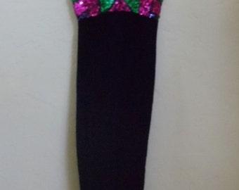 "Vintage Black Velvet Floor Length Evening/Prom Dress with Front Sequin Bodice Bust 32"" Waist 26"""