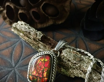 Kundalini Rising- Red Ammolite Crystal Necklace