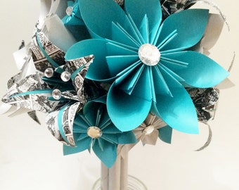 Comic Book Brides Bouquet- Paper Flowers & Lilies, one of a kind origami, made to order, customize your wedding bouquet, teal, silver