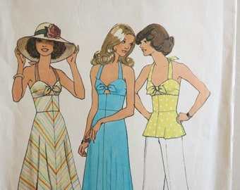 Sewing pattern Vintage 1970s pinup halter dress with cutout tie bust Simplicity peplum top 36 bust