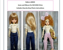 Pattern MSD9 Jeans and Lace Blouse fit to Kaye Wiggs 43cm