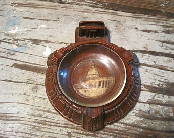 Vintage Resin Ashtray with Match Holder