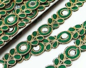 2.5 Cm Wide Cut Work Trim Craft Supplies Decorative Sewing Trimming Royal Beaded Ribbon Sari Border Mirror Beaded Lace By 1 Yard RT1368I