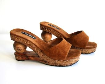 Carved Platform Sandals 8