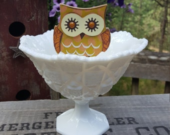 SALE 25% off - Westmoreland Milk Glass Compote Old Quilt - Wedding Centerpiece - Oak Hill Vintage