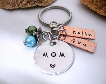 Mom Keychain, Mom Gift, Christmas Gift for Mom, Mom Keychain, Name of kids, Personalized for Mom, Mom Keepsake, Mother Gift