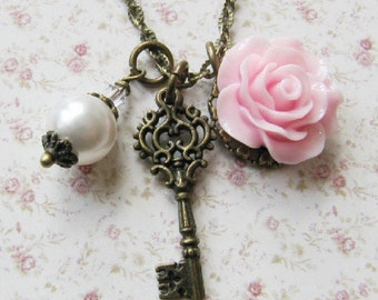 Pink flower necklace, pink and white wedding, flower girl jewelry, rustic wedding, bronze charm necklace