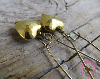 Puffed Gold Heart Earrings, Long Dangle Bright Gold Heart Earrings, Gold Heart Earrings, by MagpieMadness for Etsy