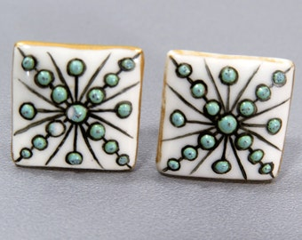 Set of 2 Porcelain Studs, Buttons with Enamel Design - White, Turquoise, Gold