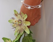 Pearl wedding braclet,pearl & crystal bracelet,pearl bridal jewelry,multi strand bracelet,pearl bridesmaid jewelery,bridesmaid gift. MELINDA