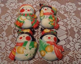 Vintage Homemade Snowmen Ornaments  -  Fabric Snowmen Ornaments - Set of Four (4)  -  15-110